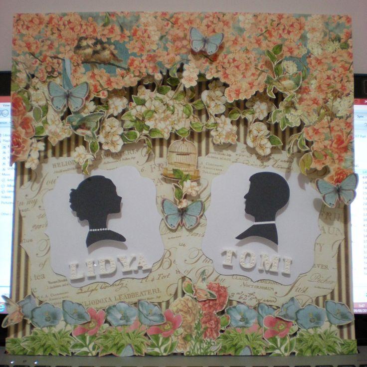 """belongs to Lidya, 30x30cm wedding scrapbook using """"secret garden"""" and """"botanical tea"""" from G45"""