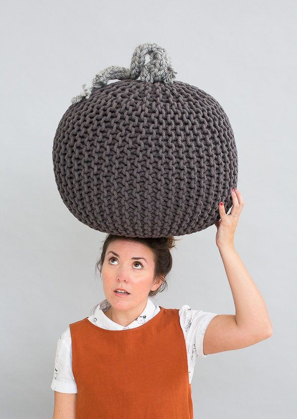 Knit or Treat: How to Make a (Super Easy) Giant Knit Pumpkin for Halloween