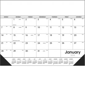 Product: 1D530 2018 Desk Pad Calendar, Black & White Basic custom imprint setup & PDF proof included! Desk pads keep a customer's name in front of potential clients on a daily basis. Date grid includes Julian dates making it perfect for financial, construction & manufacturing markets. Vinyl corners provide an attractive frame and durability at no extra charge. Norwood Publishing / 6506
