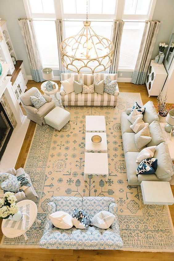 Blue Oriental Rug Living Room Area