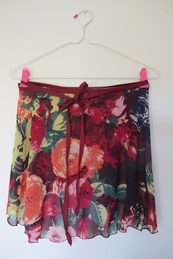 Red/orange floral ballet wrap skirt by DemiPointeDancewear on Etsy