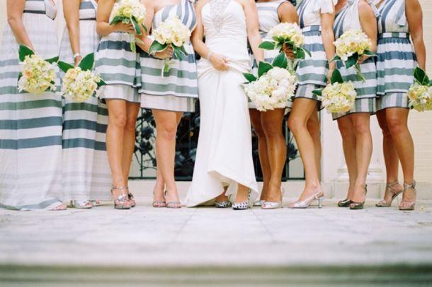 Bridesmaids in Striped Maxi Dresses