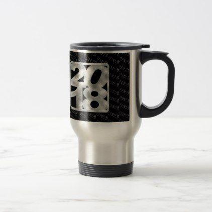 2018 on Silver and Black Color Graduation Diploma Travel Mug - graduation gifts giftideas idea party celebration