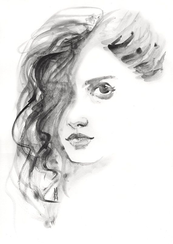 Original Drawing  Girl Face  Portrait  Hair  Eyes by Smogartist, £25.00