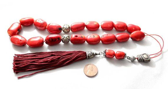Decorative Red Coral Worry Beads Handmade by AlterDecoCoinsnBeads