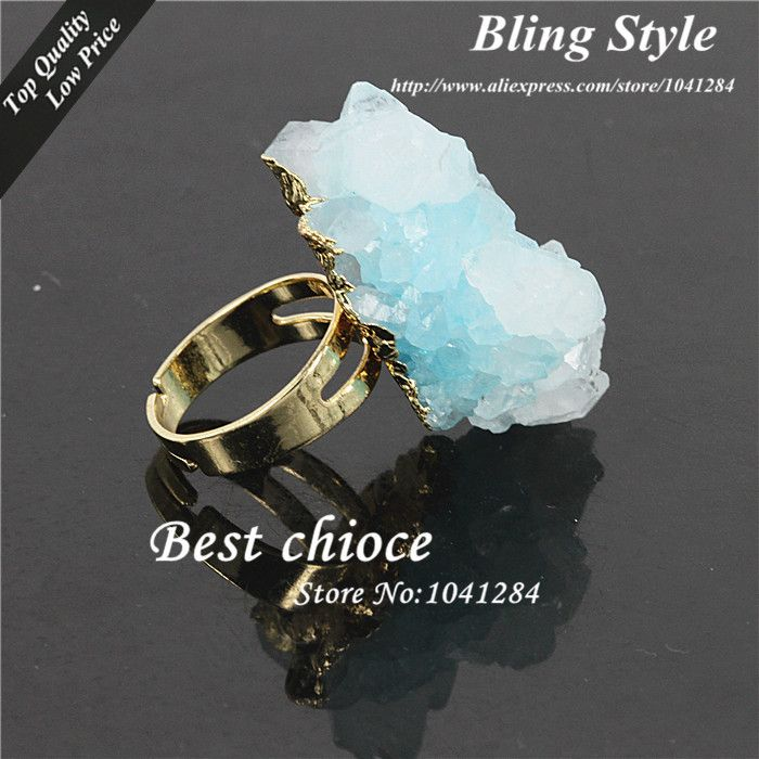 Cheap ring record, Buy Quality stone directly from China ring estate Suppliers: Free Form Crystal Blue Quartz Druzy Stone Cluster Ring 24k Gold Plated,Fashion Agate Gems Stone Finger RingT