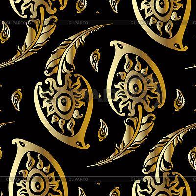 Красивые перья павлина. Золотой узор | Векторный клипарт | ID 4507899