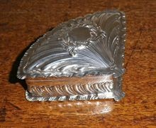 1892 Antique Sterling Silver Fan Shape BoxAntiques Silver, Silver Gold, Yesterday Silver, Ornate Silver, Sterling Silver, Silver Fans, Silver Accessories