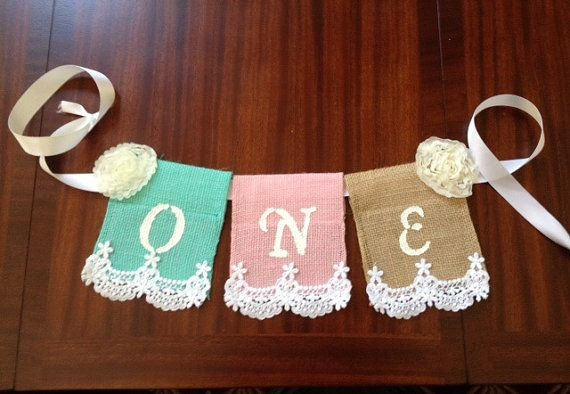 Baby's First Birthday High Chair Banner; Burlap banner, Shabby Chic, Burlap, Lace and Ribbon on Etsy, $12.00
