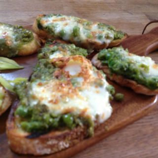 Bruschetta three ways – Peas with Buffalo Mozzarella