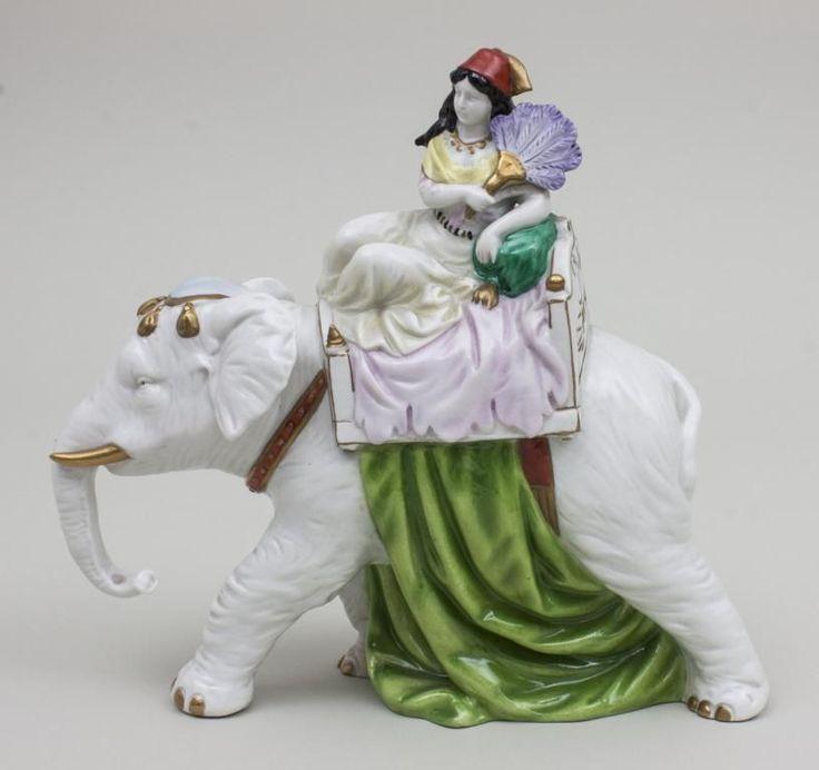 Skulptur Elefant mit Haremsdame/ Elephant With Harem Lady, Scheibe-Alsbach, um 1930 feine Darstellun