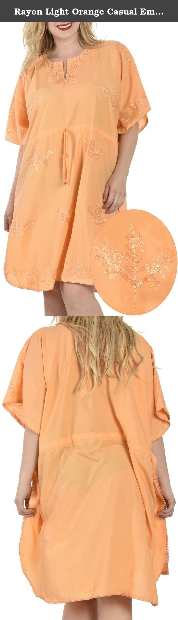 "Rayon Light Orange Casual Embroidered Plus Size Short Lounge Wear Caftan Tunic Valentines Day Gifts 2017. Description:- ==> Welcome to LA LEELA ==> Enjoy Beach, Breeze and Nature with La Leela's ""VIBRANT BEACH COLLECTION"" and stay calm and classy! . ==> Fabric : DELICATE DESIGNER EMBROIDERED LIGHTWEIGHT SMOOTH RAYON FABRIC US Size : From Regular 14 (L) TO Plus Size 28W (4X) ➤ UK SIZE : FROM REGULAR 14 (M) TO 30(XXXL) ➤ BUST : 56 Inches [ 142 cms ]➤ Length : 42 Inches [ 106 cms ]…"