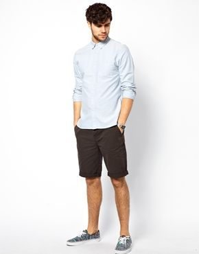 ASOS Chino Shorts In Longer Length - Charcoal / W32in $11.50  Fabric: 100% Cotton.  http://www.asos.com//ASOS/ASOS-Chino-Shorts-In-Longer-Length/Prod/pgeproduct.aspx?iid=3498694