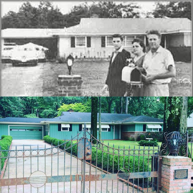 1034 Audubon Drive. - Above: Elvis with Gladys and Vernon after he first purchased the property for $40,000 in 1956 with his royalties from Heartbreak Hotel. Below: The house as it stands 60 years later, taken 7.28.2016. AS