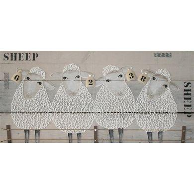 schilderij schapen steigerhout schaapjes tellen in de kinderkamer www.mooiaandemuur.com