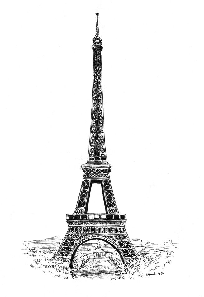 how to draw paris eiffel tower step by step