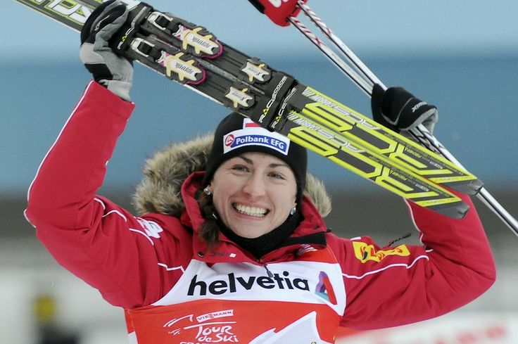 Justyna Kowalczyk - the winner of gold olympic medal in the ladies cross-country 10k classic. Sochi 2014