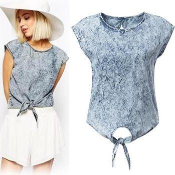 C559 новые 2015 женские Vestidos узел галстука джинсовые блузки рубашки женщины без рукавов назад выдалбливают свободного покроя тонкий марка жилет Blusas топы
