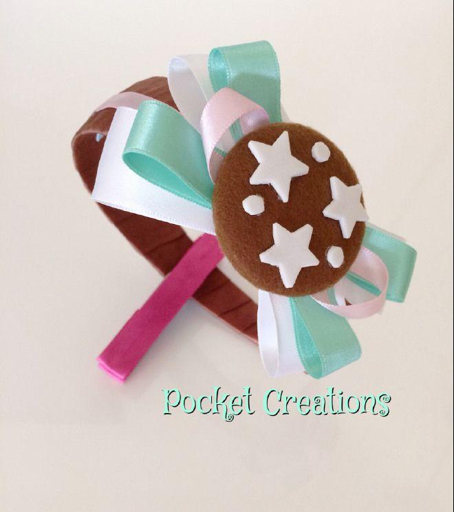 CERCHIETTO PAN DI STELLE. #handmade #feltro #felt #ribbon #cookies #biscotti #hairband #headband #hair #capelli