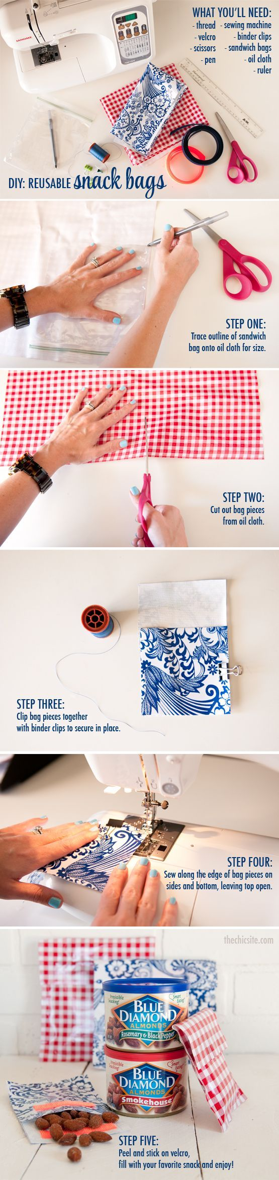 Step by Step how to make DIY Reusable Snack Bags. These snack packs would be great for the kids snacks, baby essentials, makeup bag essentials, or purse organization. You can make these bags in different sizes to meet your needs. This would also make really cute reusable favor bags.