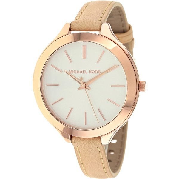 Michael Kors Women's MK2284 Runway Slim Beige Strap Watch (610 RON) ❤ liked on Polyvore featuring jewelry, watches, accessories, michael kors, slim watches, crown jewelry, oversized watches and polish jewelry