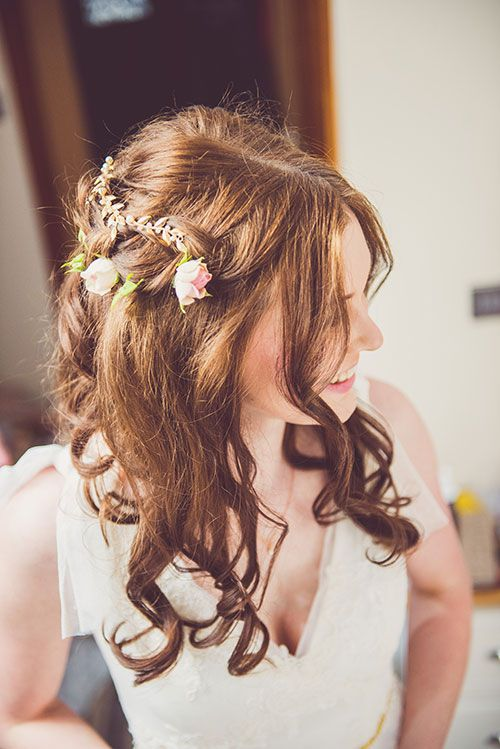 Romantic English Countryside Wedding, Bridal Hairstyle with Flowers | Brides.com