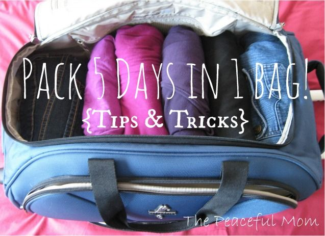 Traveling soon? Use these simple tips to pack enough clothes for 5 days into 1 carry on bag! Travel light so you can enjoy fewer headaches! - Tips from ThePeacefulMom.com