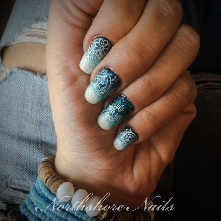 Soul of a Gypsy, Heart of a Hippie! Festival ready with a matte ombré sparkle stamped mandala!
