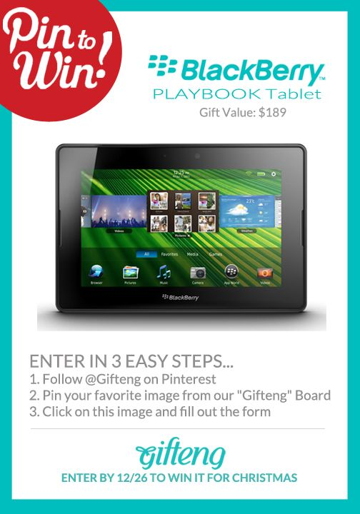 Pin it to win - Contest - Giveaway - Free -Christmas Gift - Holiday: 7 Inch Tablet, Playbook 7 Inch, Tablet 16Gb, 7Inch, Blackberries
