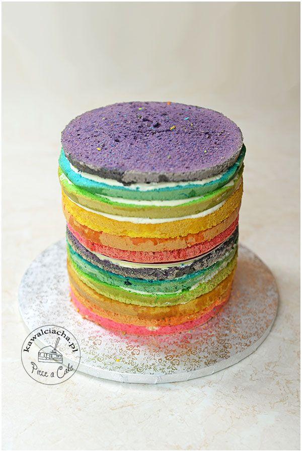 tęczowe ciasto - wnętrze tortu jednorożca więcej na: www.kawalciacha.pl