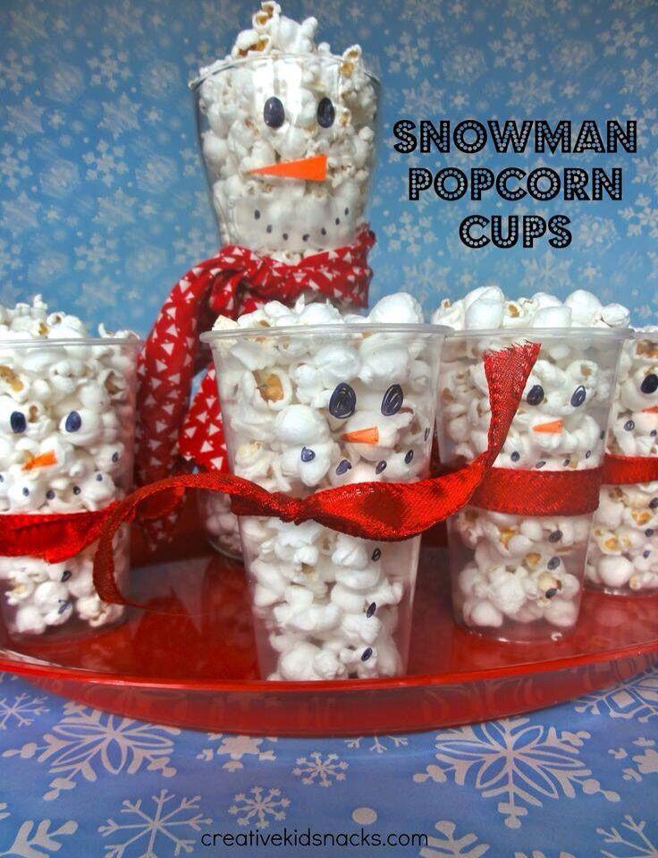 Snowman Popcorn Cups! Cute snack idea!
