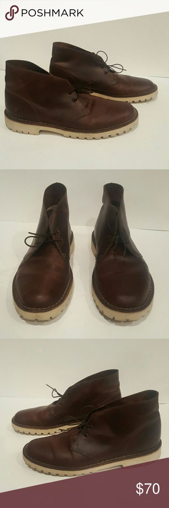 CLARKS ORIGINALS SIZE 9.5 BROWN LEATHER BOOTS CLARKS MENS SIZE 9.5 BROWN LEATHER  DESERT BOOTS WHITE LUG SOLES EUC WORN 3 TIMES Clarks Shoes Chukka Boots