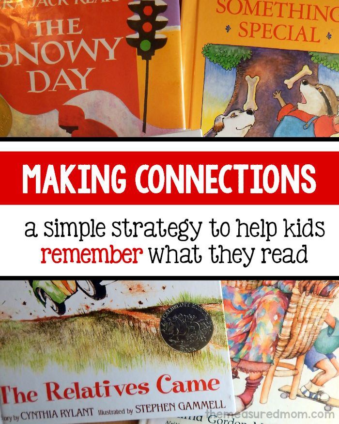 Making connections is a simple reading strategy that will help your child remember what he reads. Check out this simple lesson with a free printable!