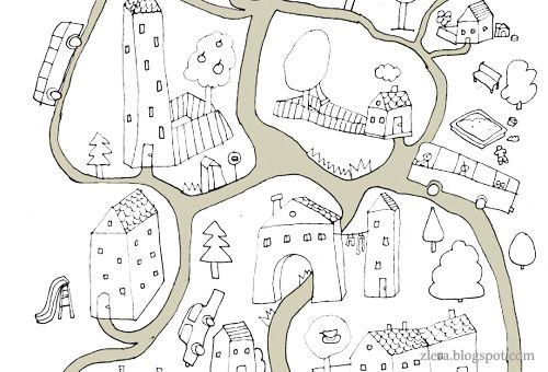 Free coloring page - town