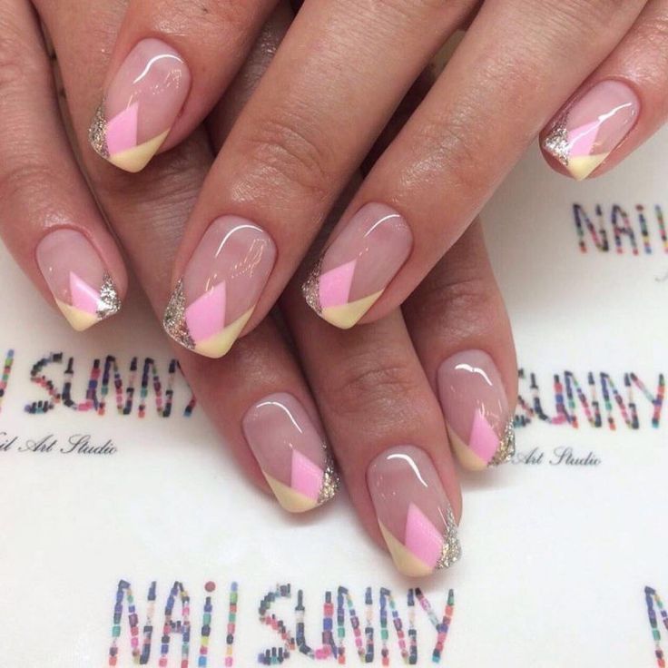 August nails, Gentle summer nails, Geometric nails