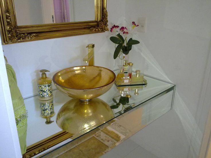 Banheiros e Lavabos Decorados com Cubas Douradas!  Cuba e Limpadores -> Cuba Para Banheiro Dourada