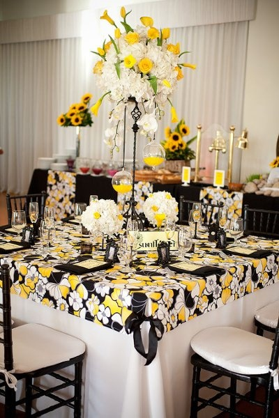 35 best images about yellow white black wedding on for Black and white reception tables