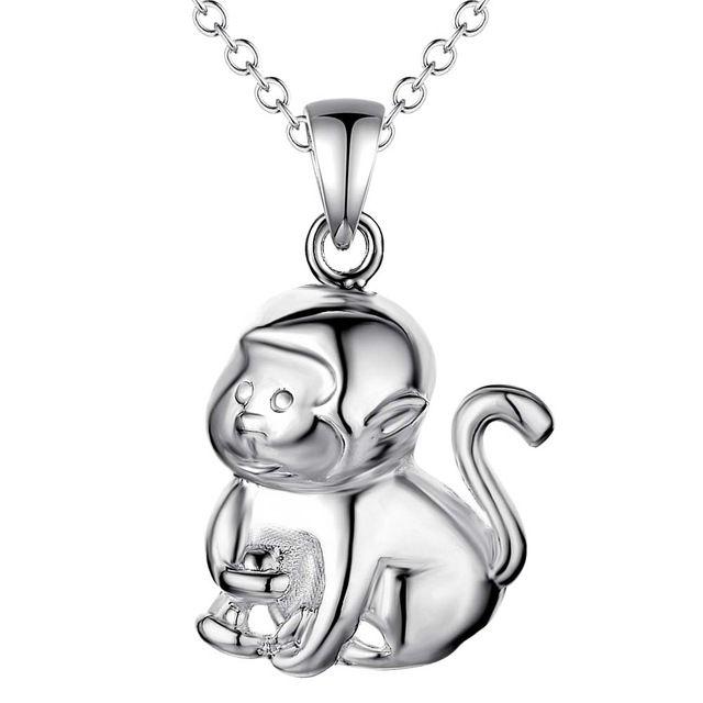 Оптовая посеребренные шарм jewelrys Ожерелье, бесплатная доставка 925 штампованные ювелирные изделия кулон обезьяна AN027/aqxajiea