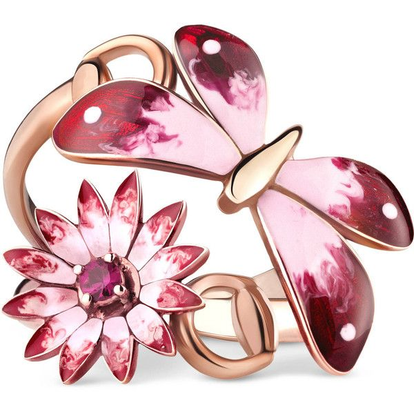 Gucci Gucci Flora Ring In Rose Gold, Enamel And Rubies (£1,550) ❤ liked on Polyvore featuring jewelry, rings, accessories, fine jewellery, rose gold, women, enamel flower ring, pink gold ring, fine jewelry and ruby ring