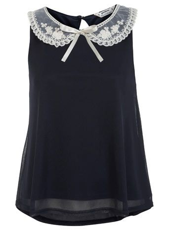 Petites Embroidered Collar Top
