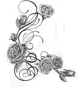 rose tattoo design, this is it! Right down my side onto my hip/leg!
