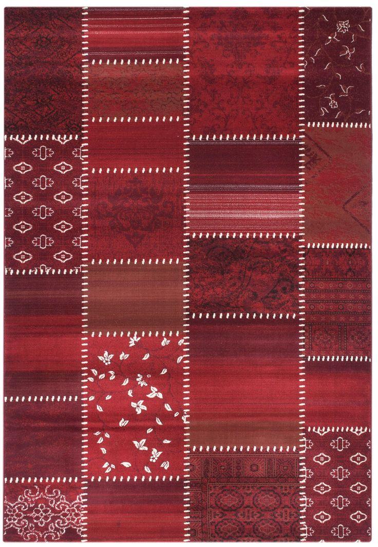 Designerteppich vintage in kurzflor - weiche strapazierfähige Moderne Teppiche mit Ornamenten - orientalischer Teppich als Design Teppich von sehrazat teppich - Maya 3820 rot - bei mynes Home kaufen