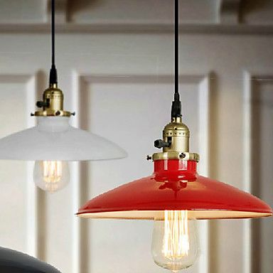 Rouge rustique american metal style edison loft vintage for Luminaire suspension rouge