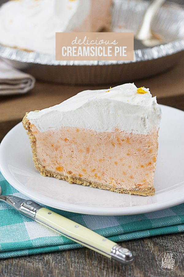 Seriously delicious!  This Creamsicle Pie is a frozen treat that won't last long!  Recipe at livelaughrowe.com #dessert #pie