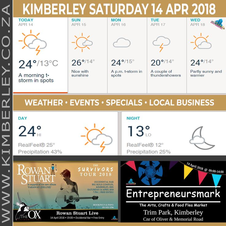 KimberleyToday, Saturday 14/04/2018 - http://www.kimberley.org.za/kimberleytoday-saturday-14-04-2018/?utm_source=PN&utm_medium=Pinterest+History+KImberley.org.za&utm_campaign=NxtScrpt%2Bfrom%2BKimberley+City+Info - 🗓#KimberleyToday, Saturday 14/04/2018 🌦 Today: A shower or thunderstorm in the area this morning; otherwise, times of clouds and sun. 🌑 Tonight: Clear to partly cloudy. 🌟 Max UV...