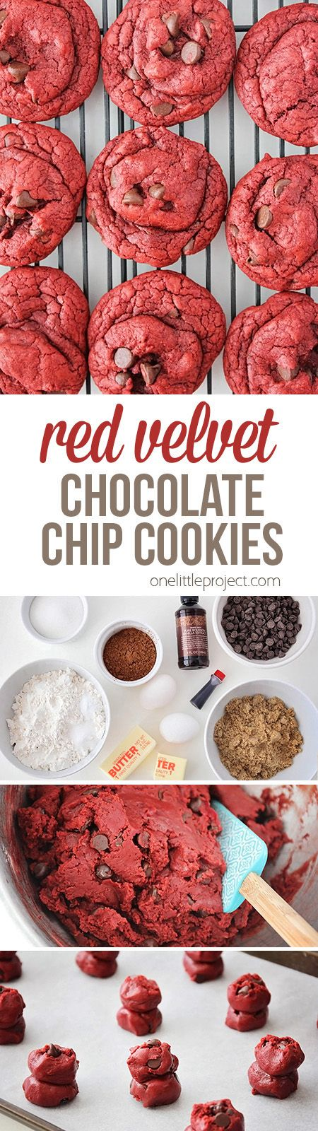 These gorgeous and decadent red velvet chocolate chip cookies are so simple and easy to make! The perfect treat for any chocolate lover!