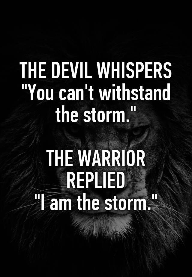 "THE DEVIL WHISPERS ""You can't withstand the storm."" THE WARRIOR REPLIED ""I am the storm."""