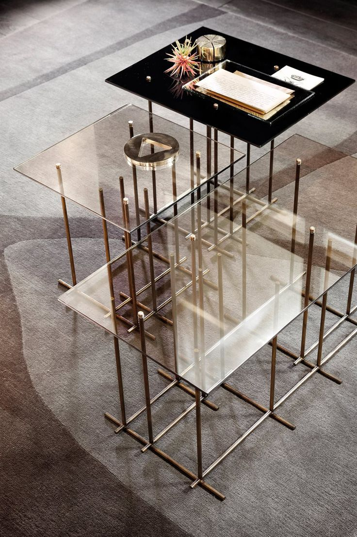 Tetris, coffee table, hand burnished brass and glass