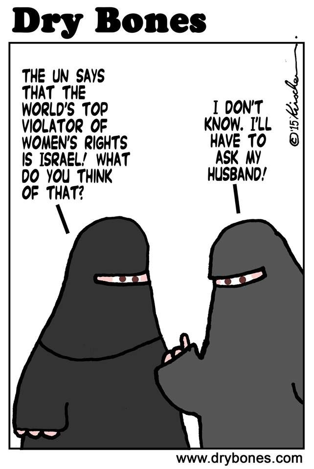 This comic plays on the fact that Islamic women need men's approval for anything to happen as a cultural  circumstance rather than having choices made on their own. It's irony sheds light on an issue many outside to the culture deem oppressive.