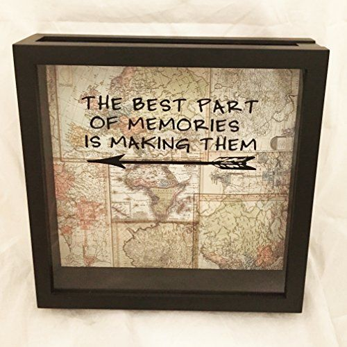 "World Traveler Ticket Stub or Souvenir Holder Shadow Box 12x12 (""The Best Part of Memories is Making Them"" on Vintage Map Background) -- You can find out more details at the link of the image."